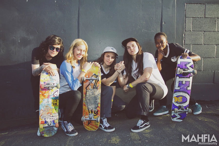 Meow Skateboards Team: Vanessa Torres, Marissa Martinez, Shari White, Kristin Ebeling and Tierra Cobb