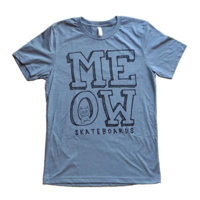 Meow Skateboards Stacked Logo Tee Heather Slate
