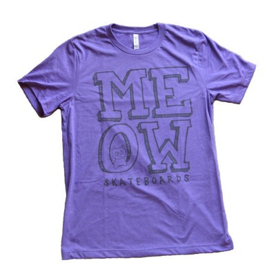 Meow Skateboards Stacked Logo Tee Heather Purple