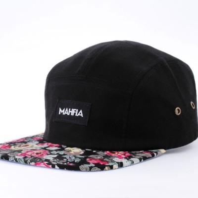 Mahfia Five Panel Hat Black Floral